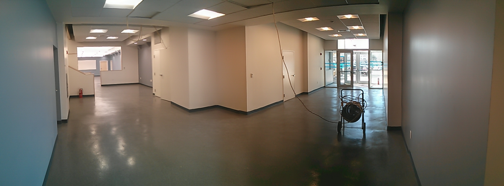 panorama view of entry and classroom