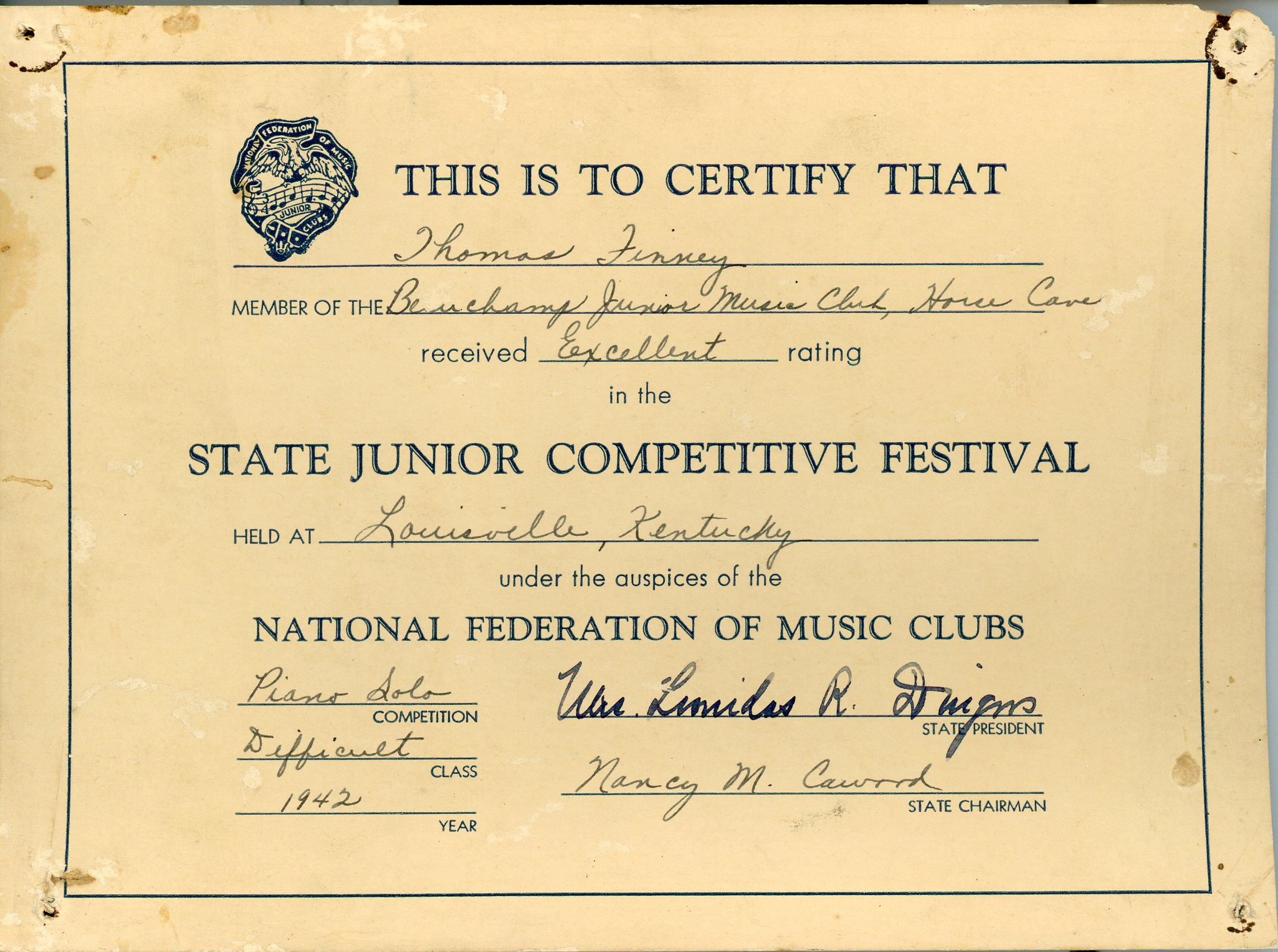Piano competition certificate