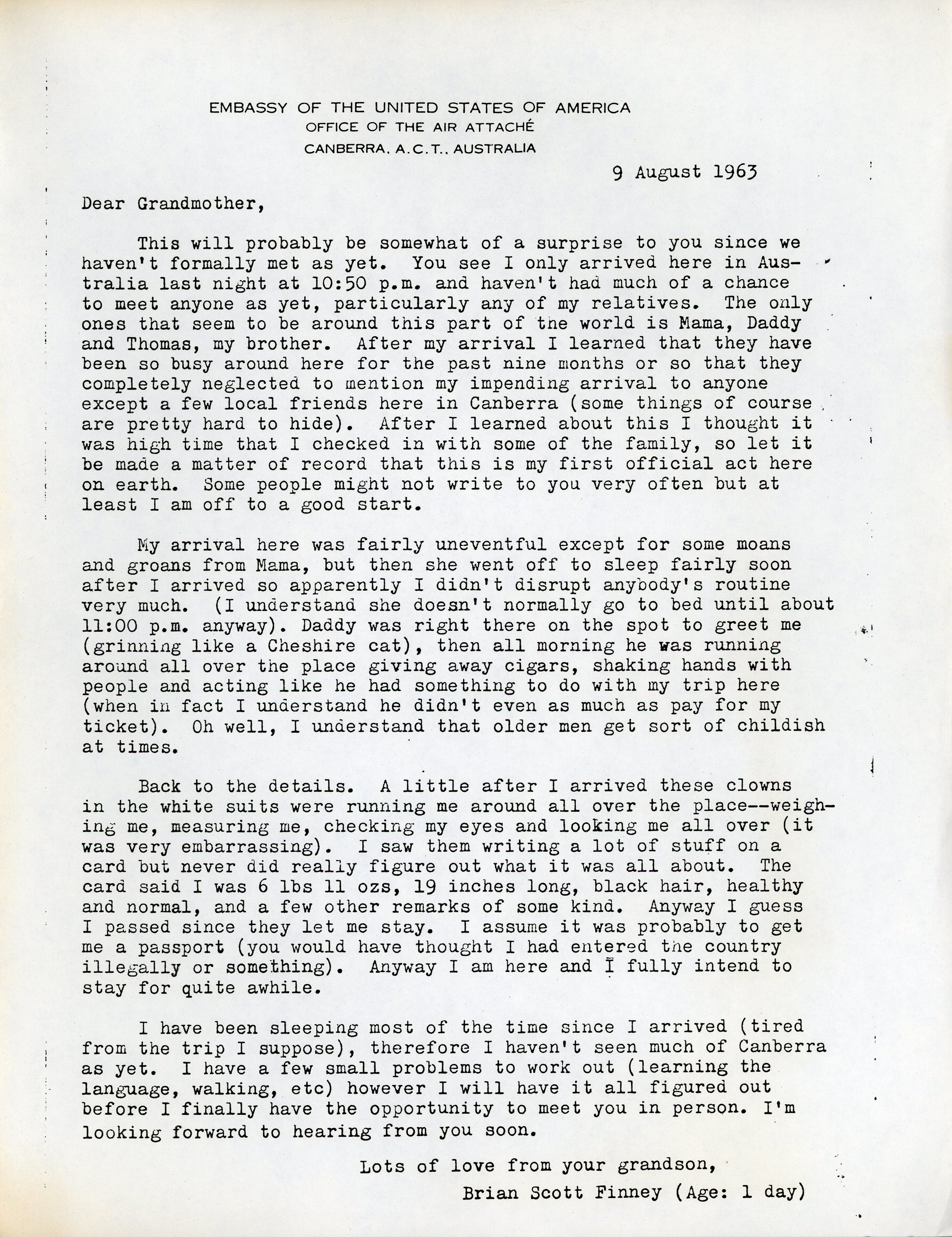 Letter announcing Brian's birth