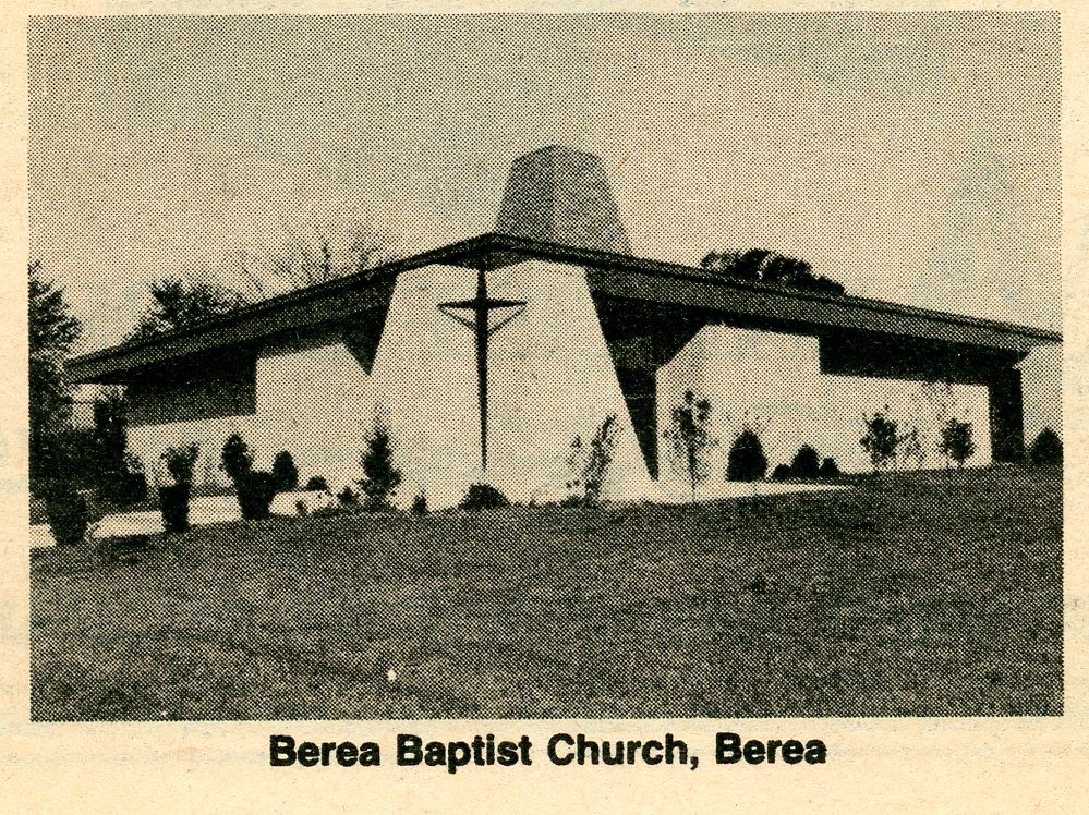 Newspaper clipping photograph of Berea Baptist Church, Berea, Kentucky where my grandfather was a member.