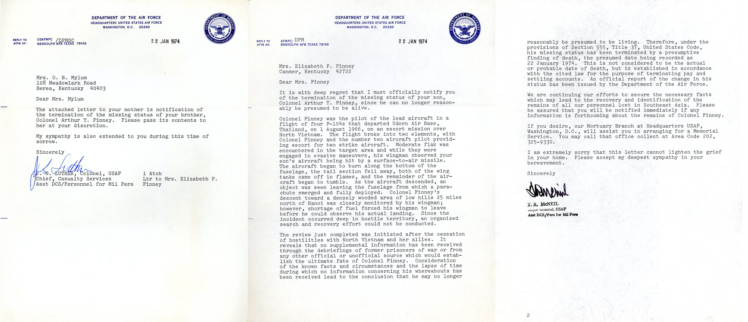 January 22, 1974 - Notice of status changed to killed in action from missing in action.