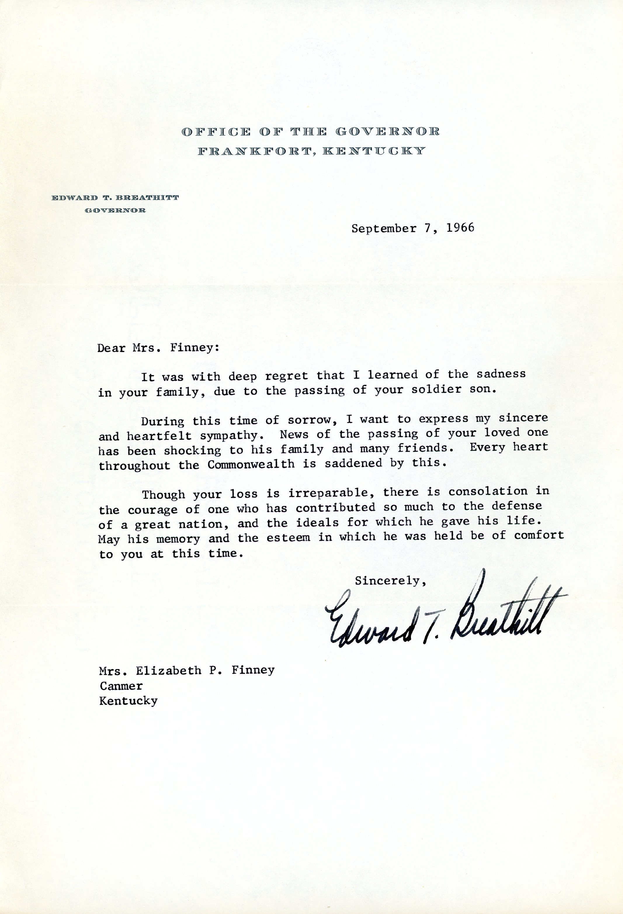 September 7, 1966, Letter to his mother after notice of missing in action from Governor of Kentucky