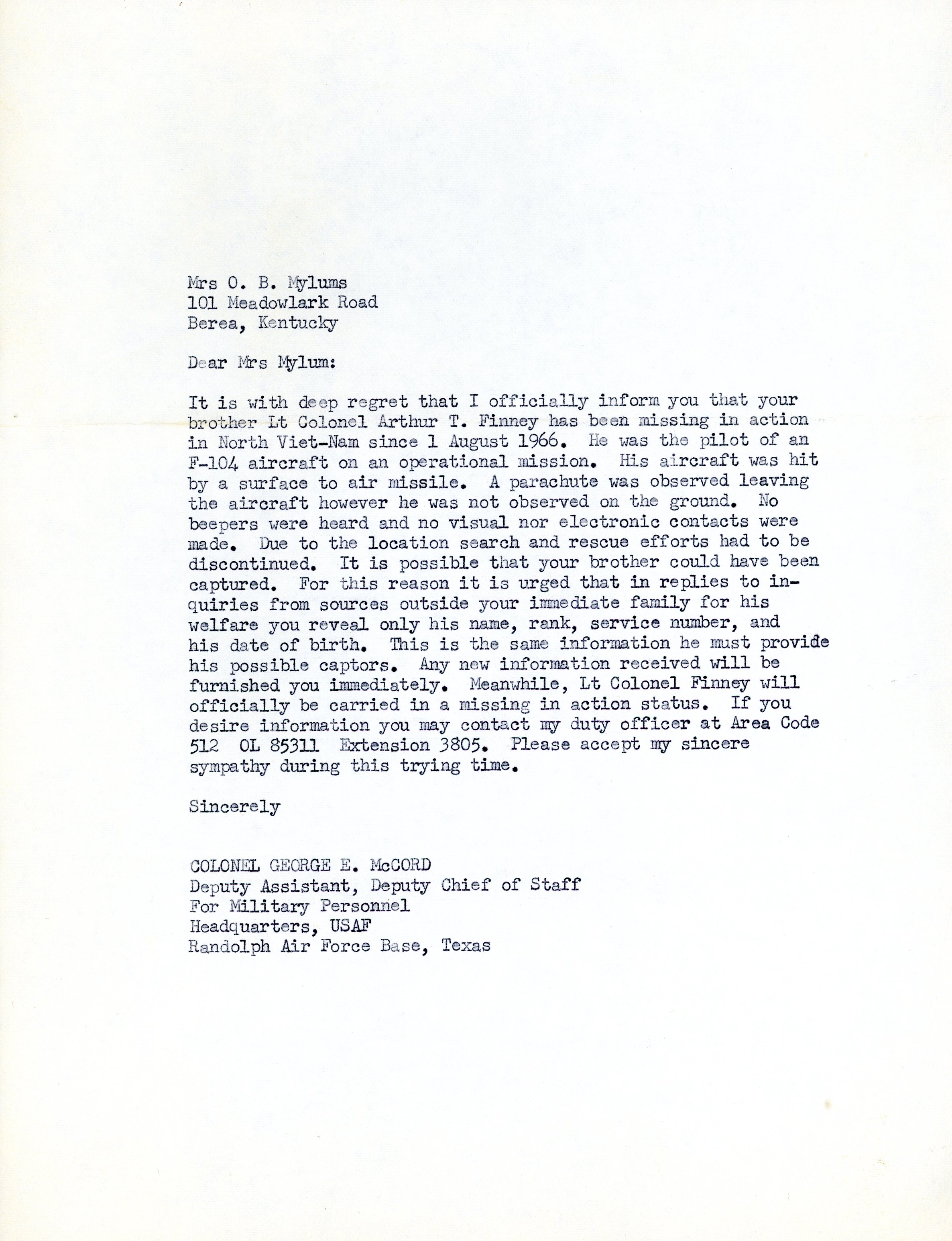 Official letter from Air Force to Dixie notifying her of his missing in action status.