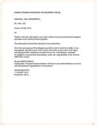 01-1 - FRENCH TRANSLATION - CAR Letter from PR of France to Anders Kompass, OHCHR - July 30, 2014