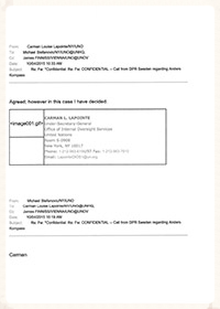 06 - Email chain involving UN senior management of OIOS, Ethics Office, Executive Office of SG, OHCHR - April 7-10, 2015