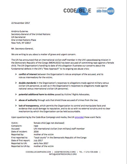 Code Blue Open Letter to UNSG –November 22, 2017