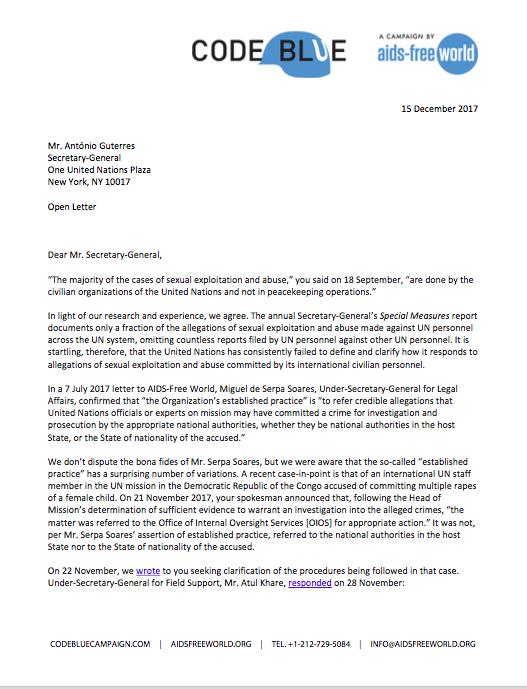 Code Blue letter to UNSG Guterres, December 15, 2017
