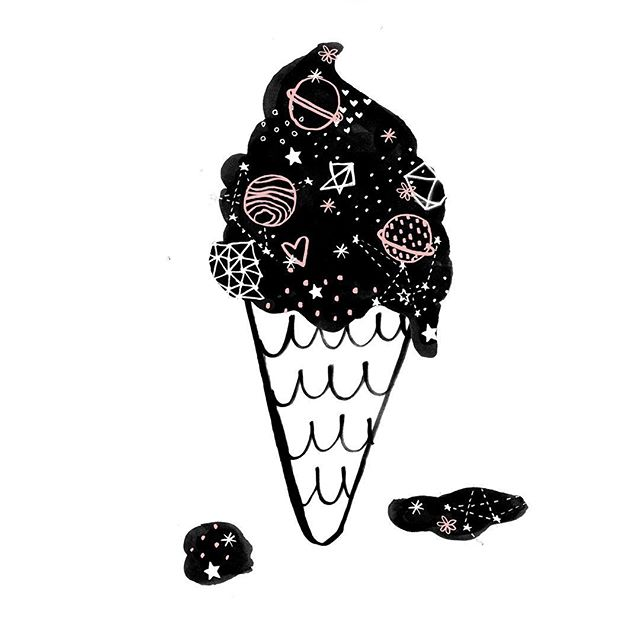 I'll stop the world and melt with you!  I managed to snag a delicious cone of ice cream from @louandgrey last week outside their new #flatiron store! Can't wait to see what they roll out for fall.  #louandgrey #icecream #fashion #space #stars #illustration