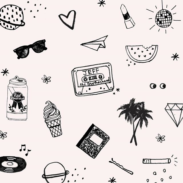 Had the best time seeing @jeffthebrotherhood last night @market.hotel ! I have been seeing them play for a decade, from Tennessee to Brooklyn, and they never disappoint.  #illustration #wallpaper #music #Brooklyn #icecream #pabstblueribbon #record #cassette #watermelon #pattern #design #venue