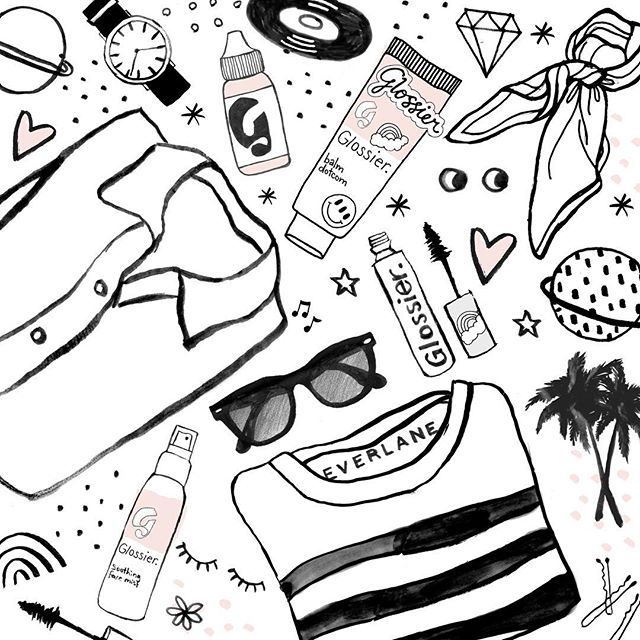 I had such a great time last night at the Everlane + Glossier event ! Two of my fave brands coming together 💕 💄 @glossier @everlane @intothegloss  #illustration #beauty #skinisin #fashion #ootd #makeup #flatlay #everlaneshoepark #soho #glossier #everlane