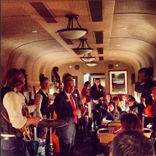 12/7/13  | Norfolk Southern hosted an amazing reception for us last night on board their historic railcars, one of which once belonged to President Franklin D. Roosevelt. One of our favorite bands, The Last Bison, played some of their spellbinding tunes for our wonderful guests.