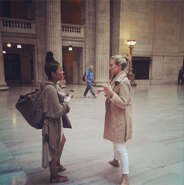 8/14/13  | Chatting at Union Station while waiting for the train, a familiar (and cherished) time for conversation.