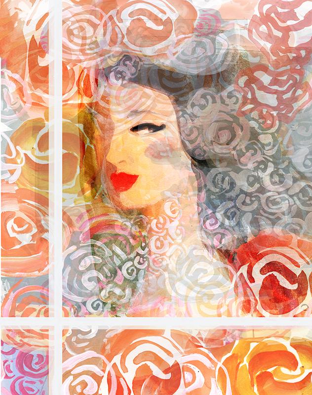 rose woman in window