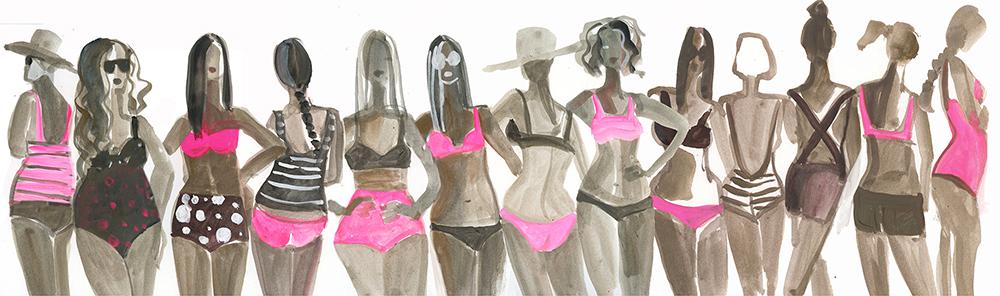 pink and black beach girls