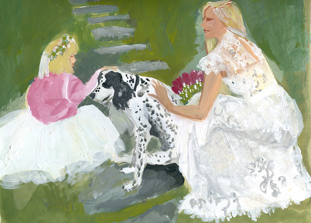 the bride, flower girl and best dog.