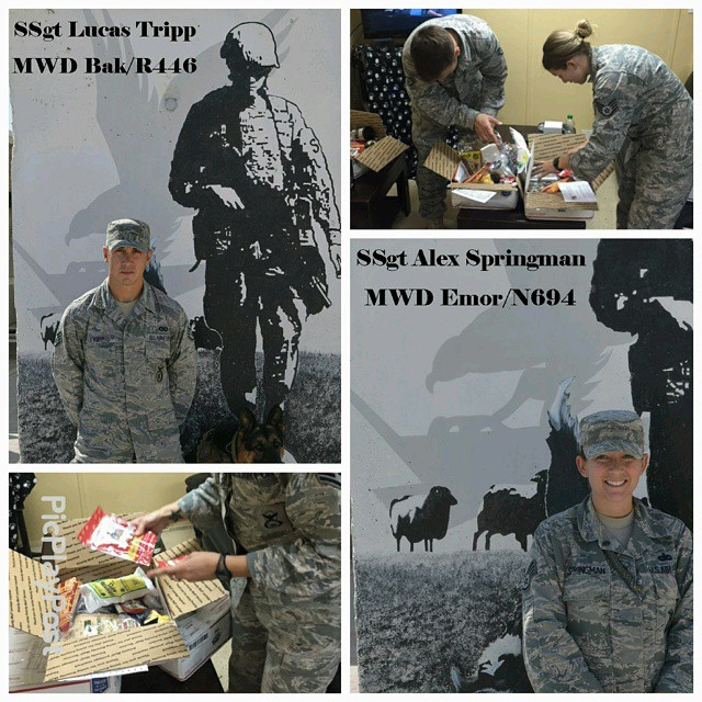 @petropolis_cam care package recipients MWD 405 ESFS Thumrait AB, Oman #militaryworkingdog #military_working_dog