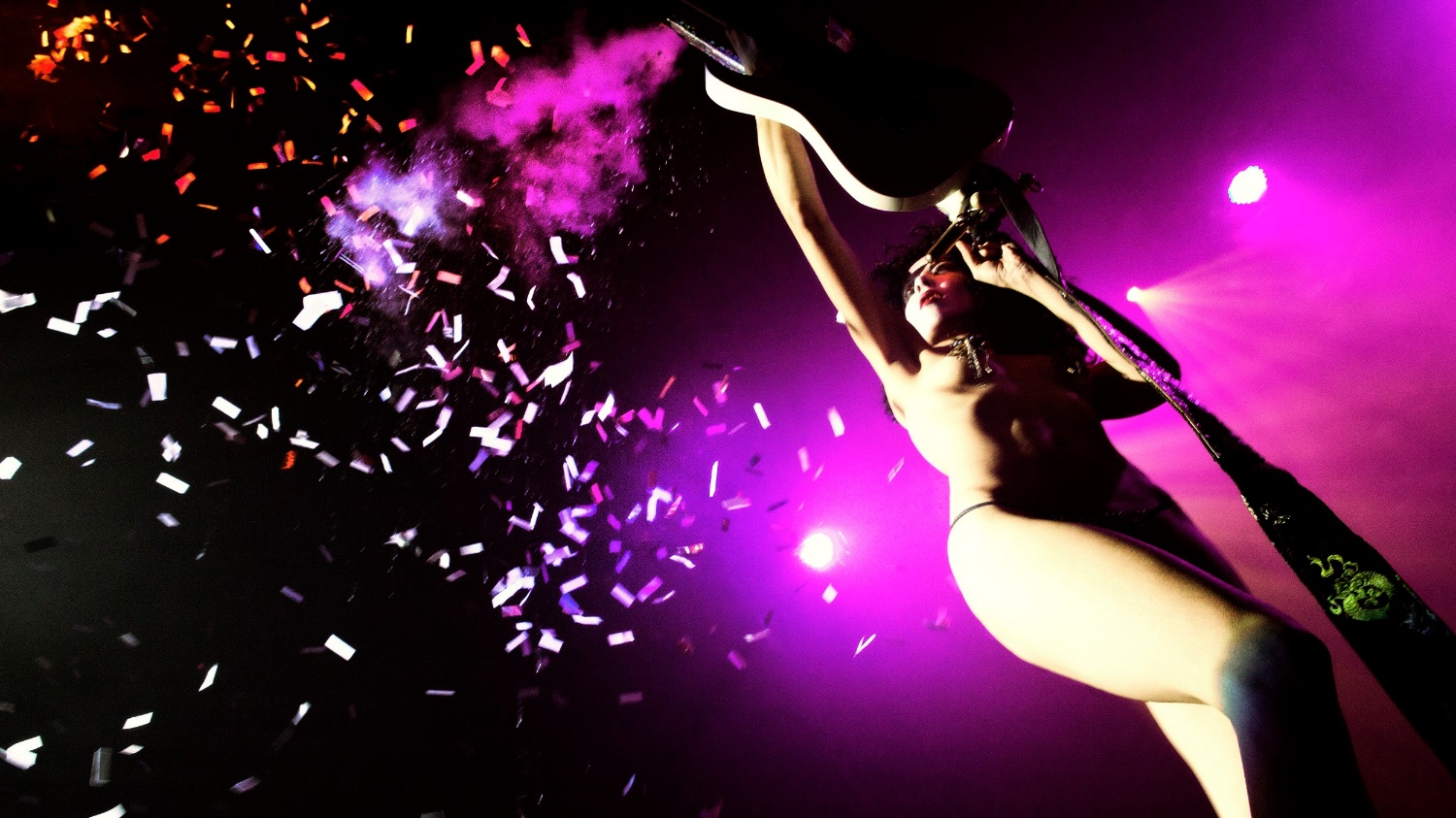 """Photo of Annie's """"Black Diamond"""" KISS tribute shot at Lucha VaVoom at the Mayan Theater by Bruno O'Hara"""