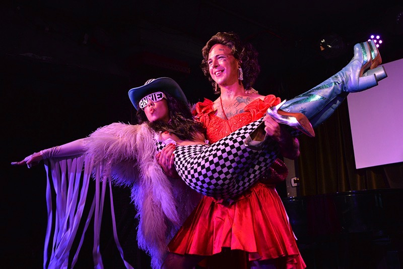 "photo of Diamondback Annie as WWE legend Macho Man Randy Savage & Haute Coque as Miss Elizabeth taken at Rockwell Table & Stage by Ernie Manrique for Hollywood Jane Review's ""Faces In Heels"" show"