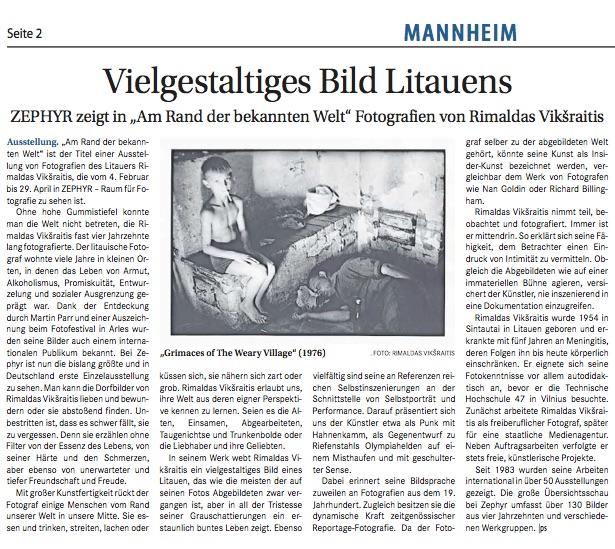 """01.02.2018  Wochenblatt Mannheim  ZEPHYR zeigt in """"Am Rand der bekannten Welt"""" Fotografien von Rimaldas Vikšraitis"""