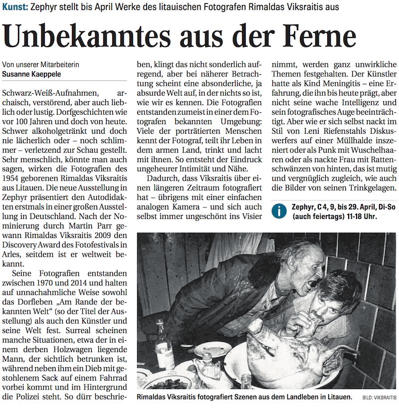 07.02.2018  Mannheimer Morgen  Unbekanntes aus der Ferne. Zephyr stellt bis April Werke des litauischen Fotografen Rimaldas Vikšraitis aus.