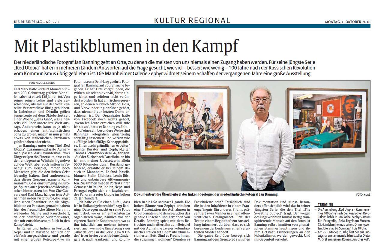01.10.2018  Rheinpfalz : Mit Plastikblumen in den Kampf