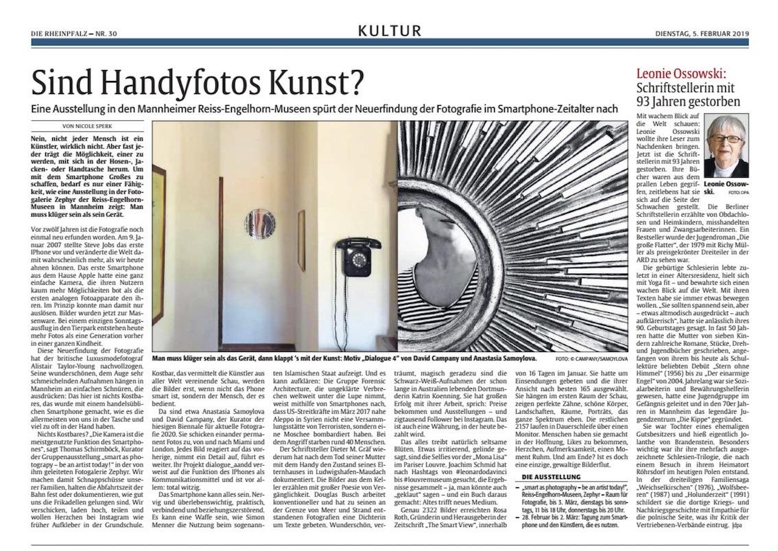 05.02.2019  Rheinpfalz : Nicole Sperk: Sind Handyfotos Kunst?