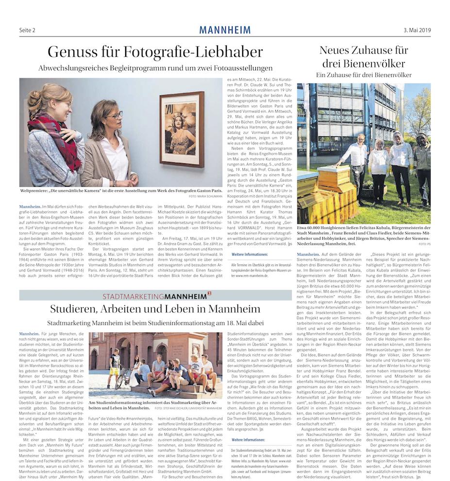 03.05.2019  Mannheimer Morgen  Genuss für Fotografie-Liebhaber