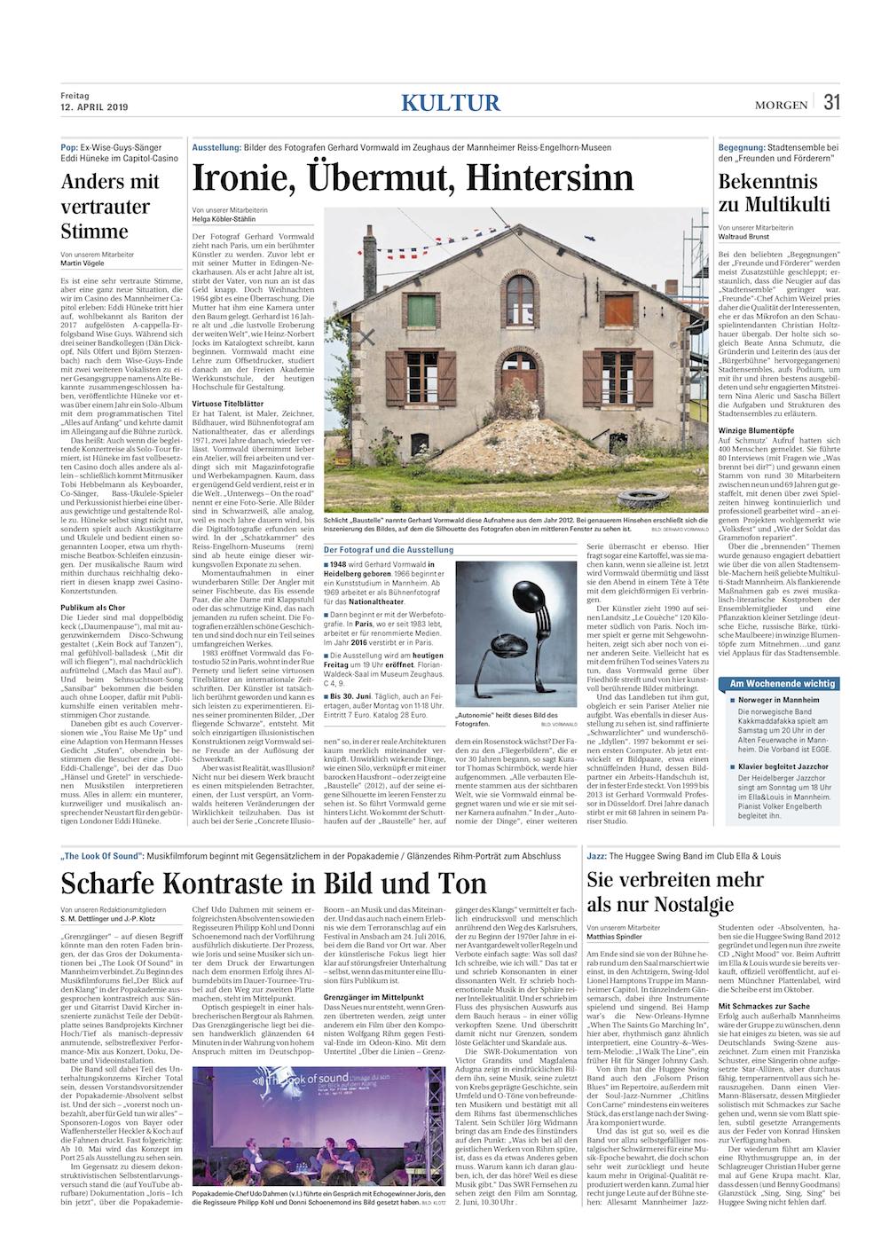 12.04.2019  Mannheimer Morgen  Ironie, Übermut, Hintersinn