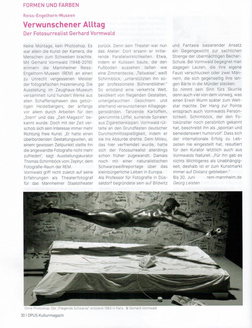 Mai/Juni 2019  Opus  Verwunschener Alltag. Der Fotosurrealist Gerhard Vormwald