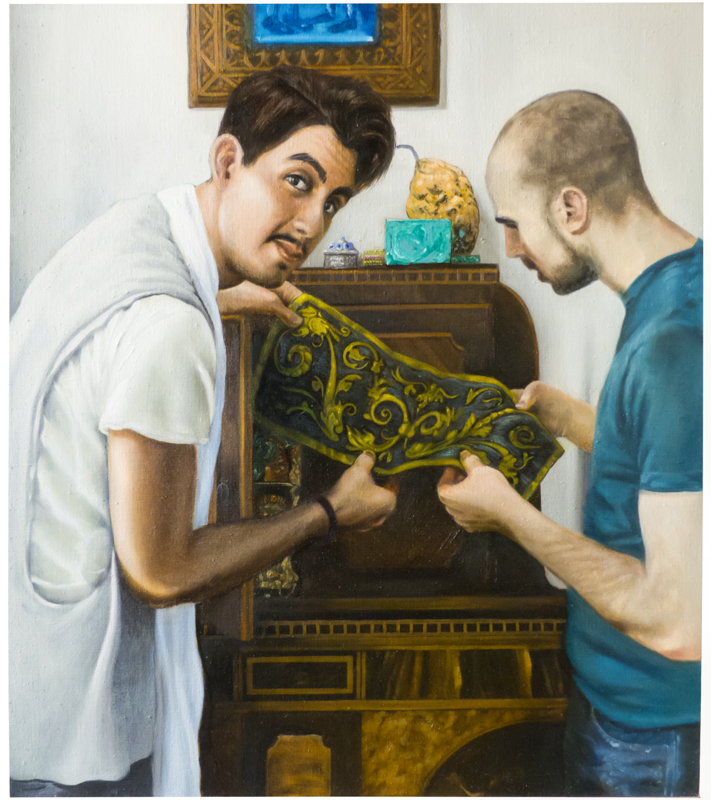 Brandon and Evan (Lessons) , 2015. Oil on linen, 27x24in.