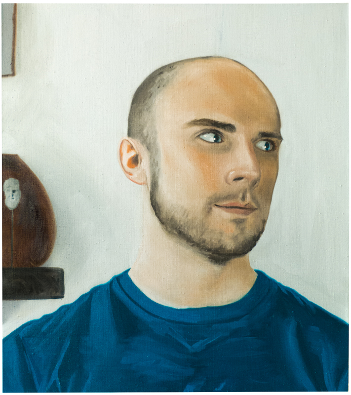 Evan with Greek Miniature , 2015. Oil on linen, 27x24in.