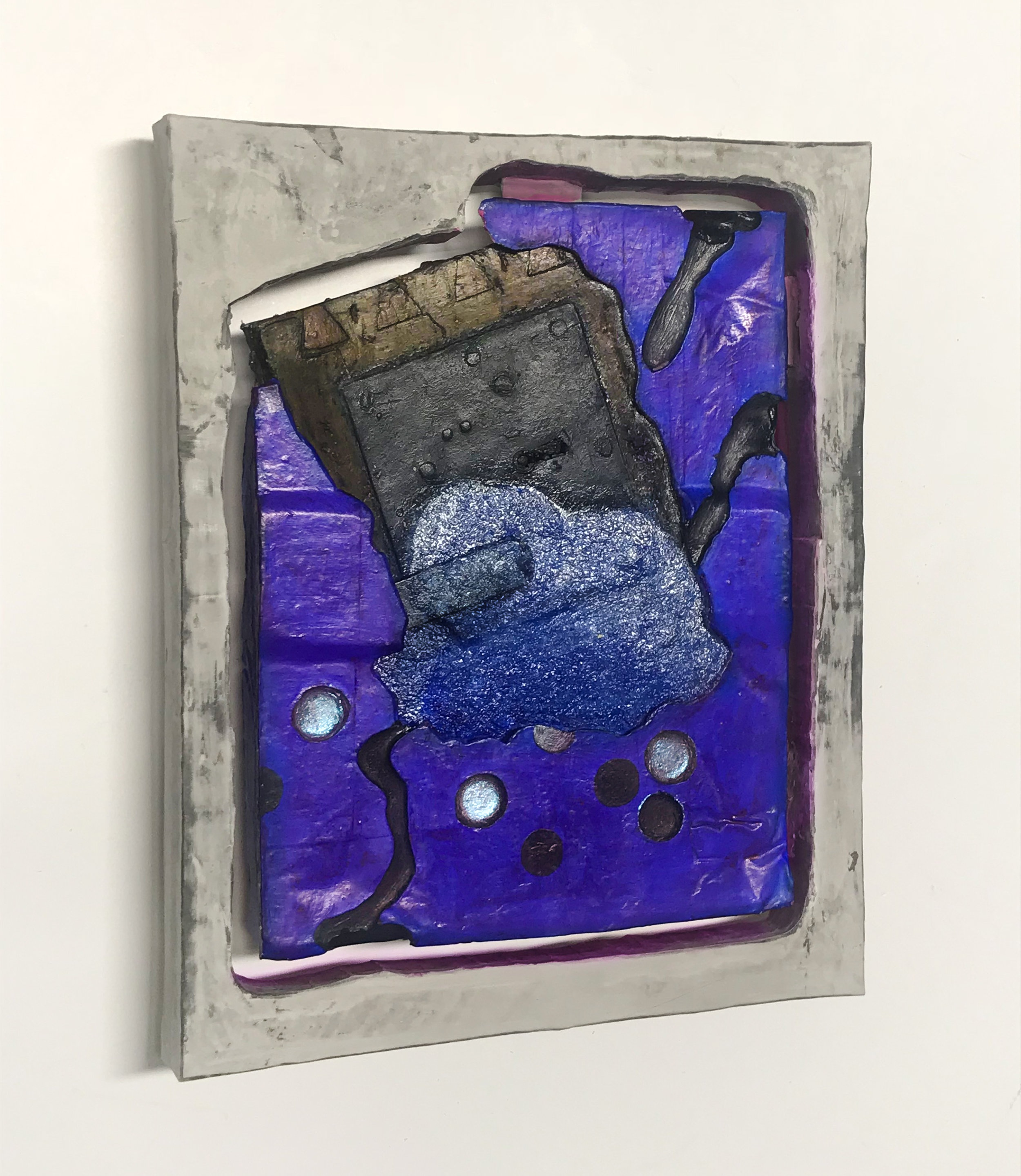 Tithen , 2018, Hydraulic expansion cement, acrylic, mica, glass, wood, adhesive, fiberglass,microcrystalline wax polish, 12wx14tx2d inches.
