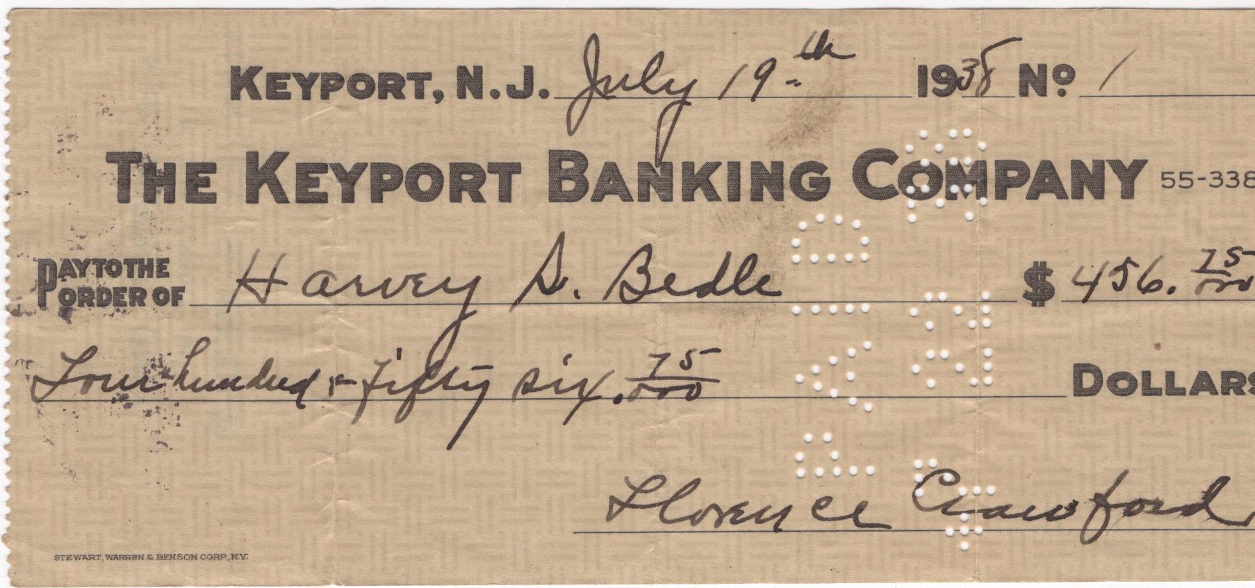 Harvey S. Bedle Check