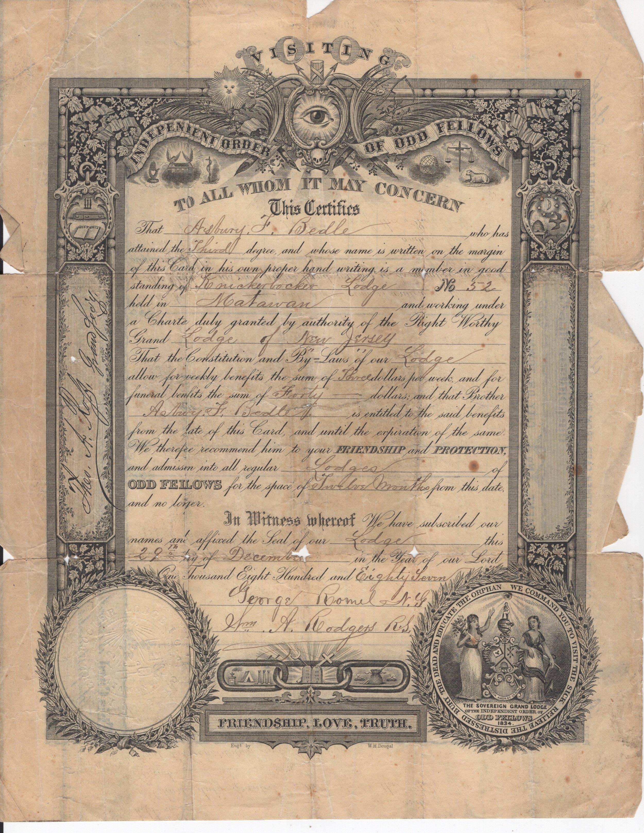 Asbury F. Bedle  Fellowship Certificate