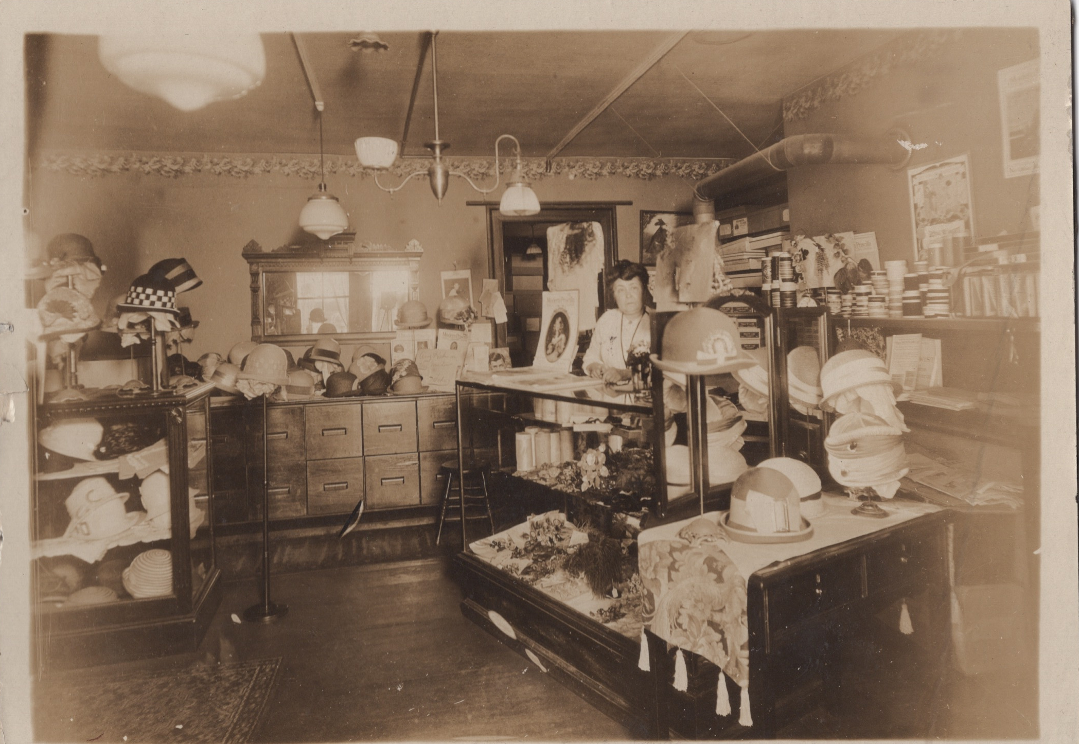 "Matilda Sproul Coe, T.S Coe Milliner, Store which is now ""The Hutch"" S side of Front st."