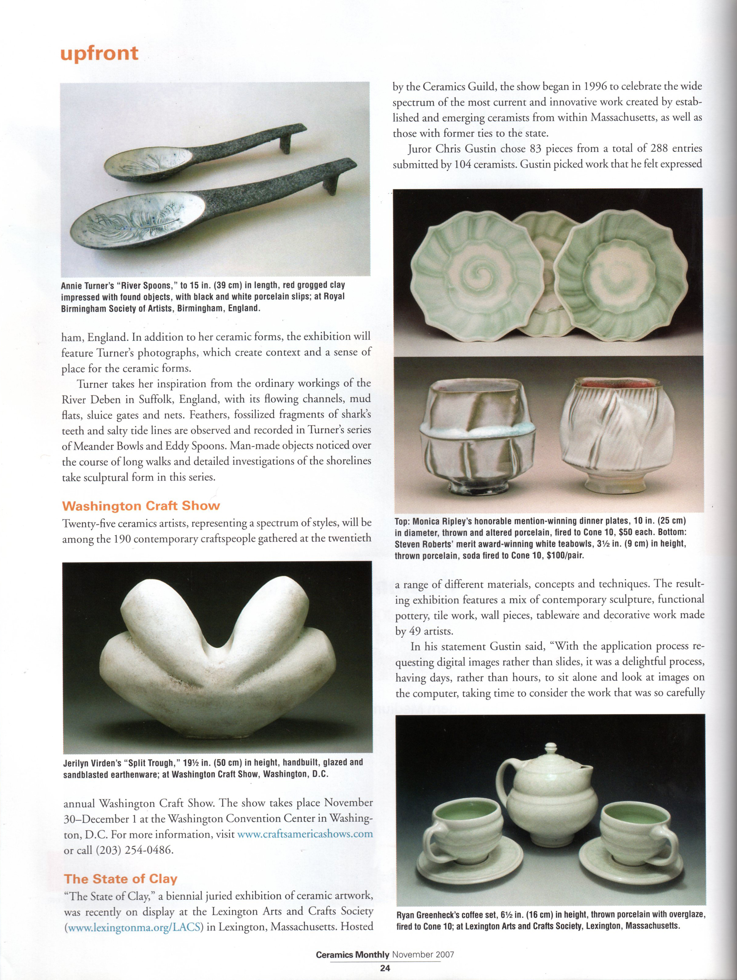 "Ceramics Monthly, November 2007, ""Up Front"" section, page 24."
