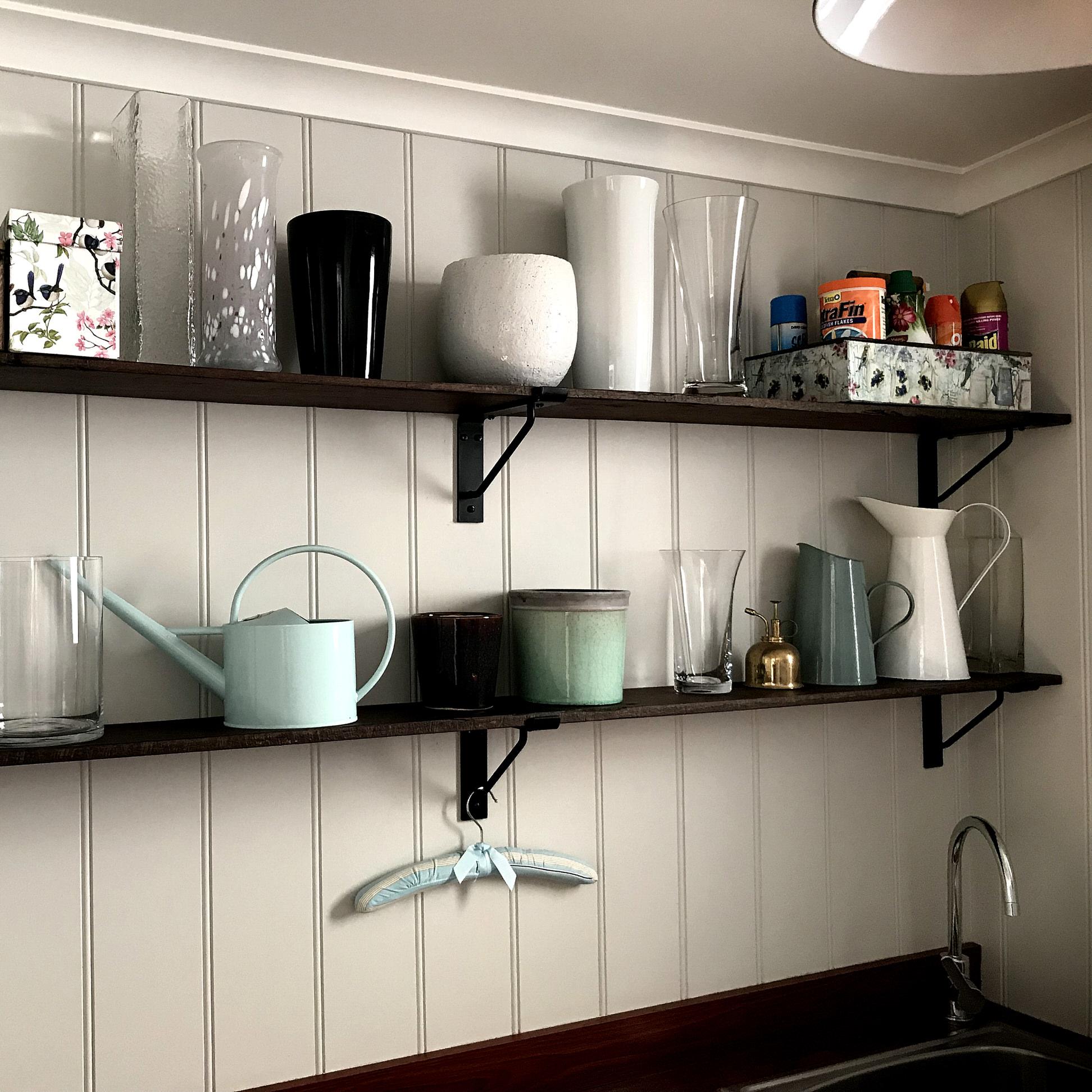 Custom No.5 Shelf Bracket In Laundry Room