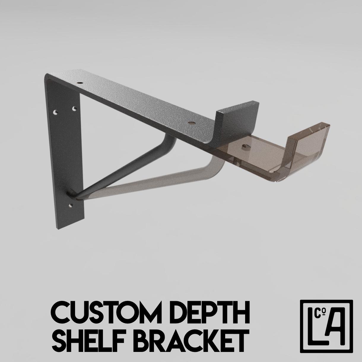 Customisable depth shelf bracket rendered drawing.