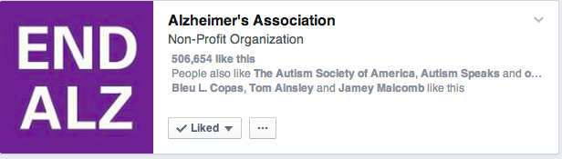 Here you can see I have three friends who like End Alz.