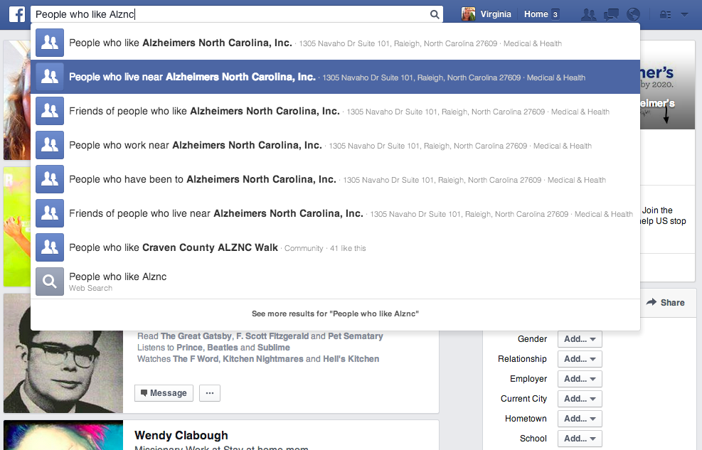 Using the search bar on Facebook.