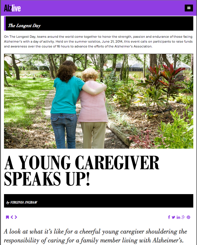 A young caregiver speaks up! on AlzLive for the Longest Day.