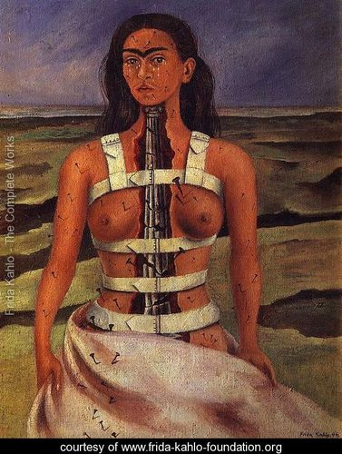 The Broken Column  courtesy of  The Frida Kahlo Foundation . This painting shows the dueling strength and fragility of Frida's body.Read more about the   Broken Column on FridaKahlo.org  .