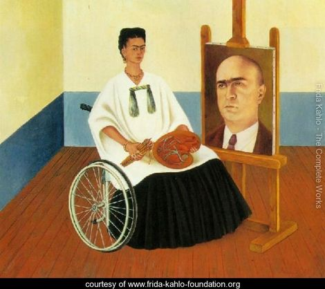 SelfPortraitwith the Portrait ofDoctorFarill  courtesy of  The Frida Kahlo Foundation . Doctor Farill performed seven surgeries on Frida's spine in one year. She credited him with saving her life. Read more about   Self Portrait with the Portrait of Doctor Farill  on FridaKahlo.org .