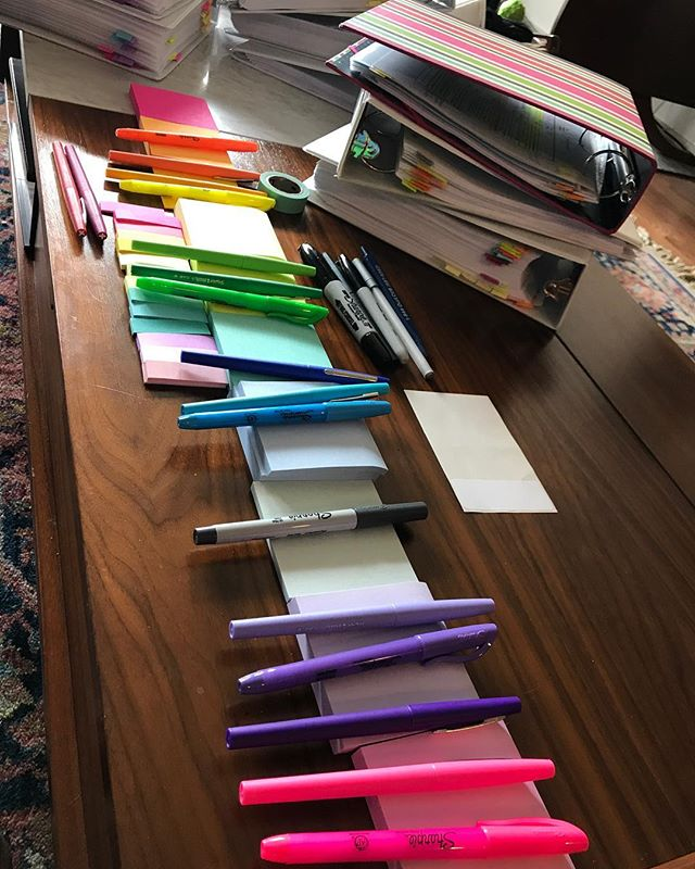 8 binders, a bunch of post-it notes, markers, and a shitton of general office supplies. This is definitely hell. I can't wait to have a bonfire with @hlmill06 in a few weeks. 🔥 📚 📖 🔥