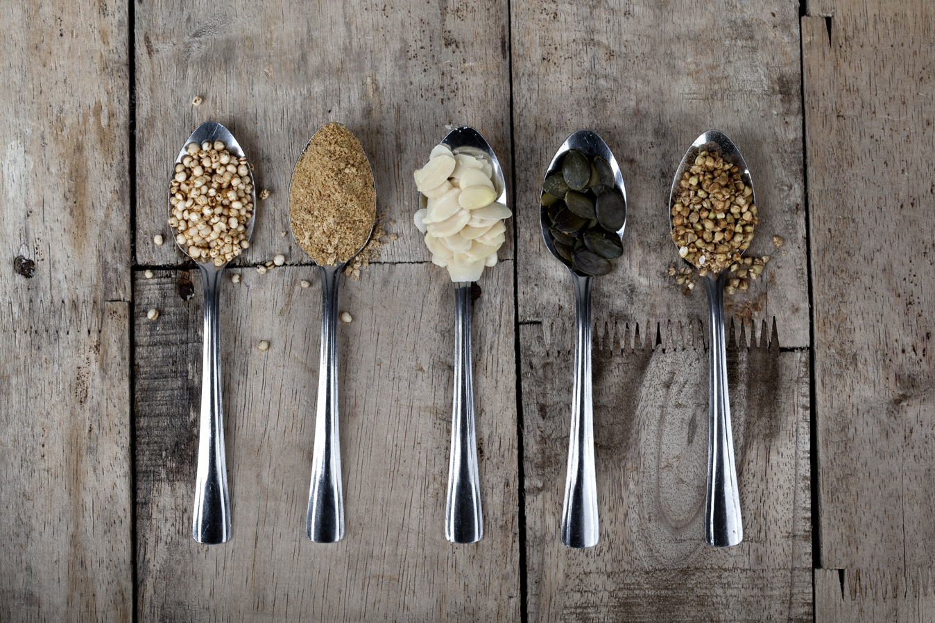 Some of the crumble topping ingredients: puffed quinoa, rapadura sugar, flaked almonds, pepitas and buckwheat.