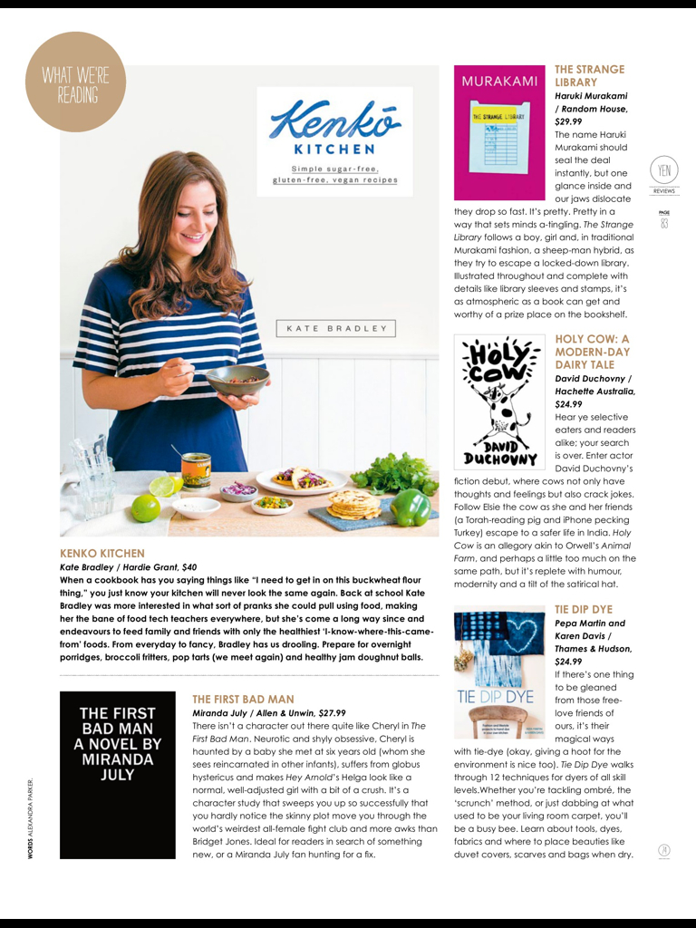 Cookbook Review in Yen Magazine, February 2015