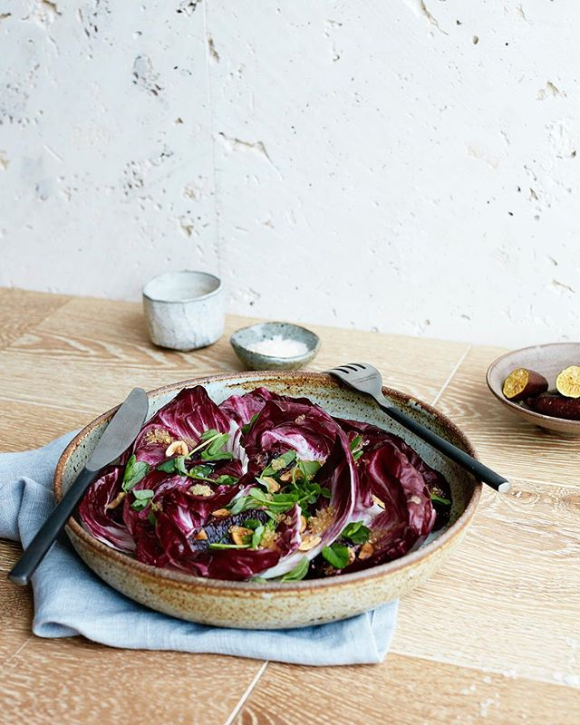 "Although Melbourne is refusing to get cold at the moment (my iguana self is looo-oooving it) I am looking forward to all the delicious citrus that's about to come into season. This Radicchio, Blood Orange and Finger Lime Salad is so easy but looks and tastes so darn fancy. Serve it up and people will be like ""fudge, I'm never inviting X to dinner as I could never live up to this"" and really that's what we all want to do isn't it?! Show our friends up?! I'm joking, but this will do it if you're into that. Get the recipe on my website, make it, snarf it and live your best life. 💁🏼‍♀️ 📷 @elisawatson_photography"