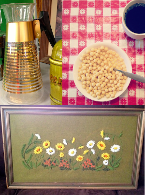 Carafe: $1.00 / Tablecloth, not including coffee and Kix: $1.80 / Floral embroidery: $5.40