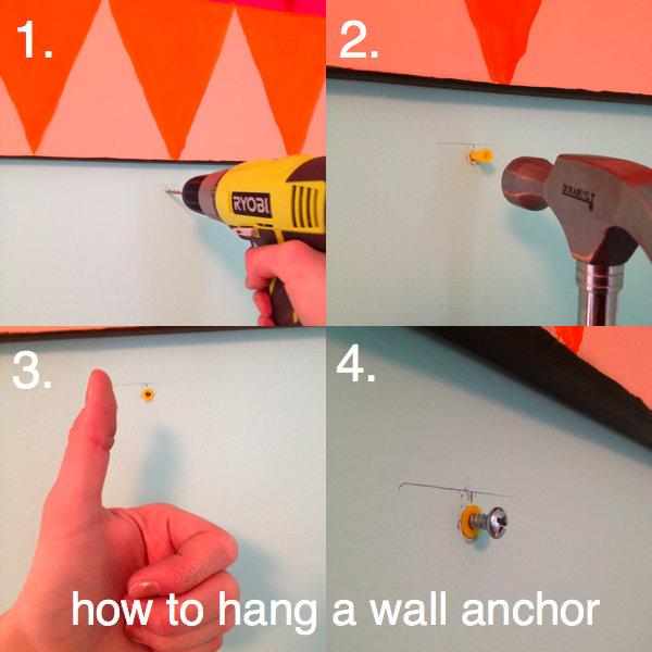1. drill a pilot hole a little smaller than the plastic anchor. 2. hammer in the anchor. 3. make sure it is flush with the wall. 4. use your drill to add the screw. ta-da!