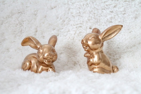 Thrifted ceramic bunnies personally goldified by me!